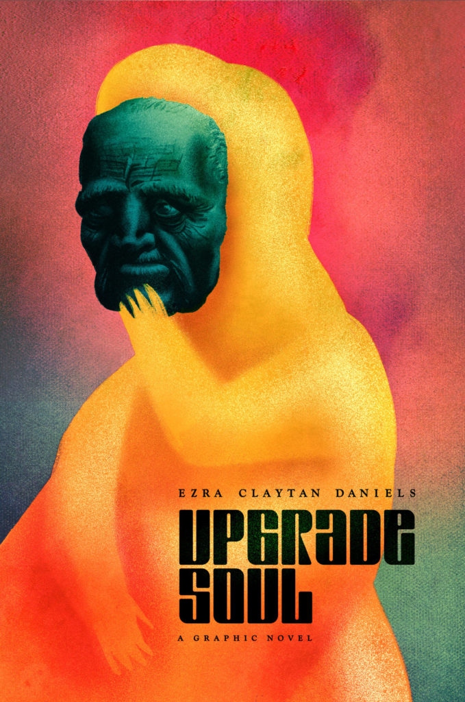 An indistinct yellow-orange figure covers the area where its face would be with the green mask of an old, wrinkled face