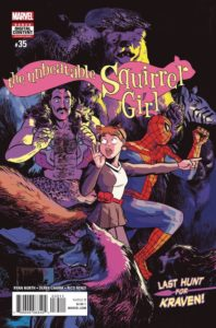 Squirrel Girl, Kraven and Spider-Man surrounded by a menagerie of wild animals