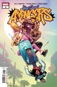 The West Coast Avengers are crowded onto a scooter carried by America Chavez in front of a graffiti-style logo