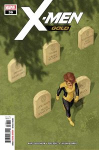 Kitty Pryde walks through a field of headstones labeled with the names of her teammates