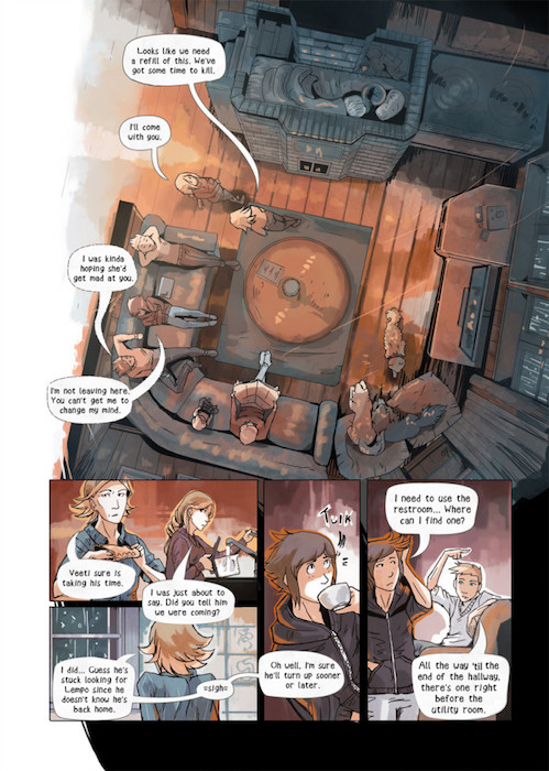 A page from Year in Hereafter. The first panel, a top-down view of a family sitting on couches, takes up 60% of the page; the rest is shots of the characters talking to each other about farm comings-and-goings. The colors are warm and cozy. Year in Hereafter, Mikael Hankonen, 2018.