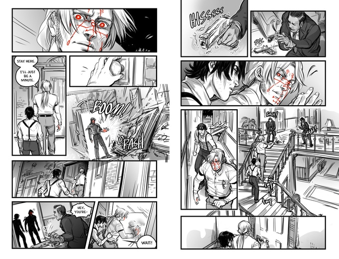 Two pages from Bang! Bang! BOOM!, in which a man with strange red markings on his face enters a fancy house and just wrecks the men with guns on the inside. Bang! Bang! BOOM! Volume 1, Melanie Schoen & Del Borovic, 2019.