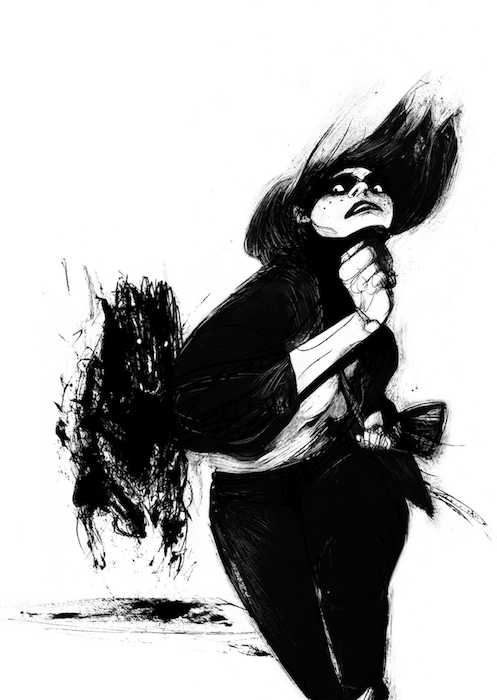 A high contrast, black and white image. In the foreground, a girl with white skin and stark black hair runs towards the camera. Behind her, a black dog with white pinprick eyes is in pursuit. The inks fray and blot at the edges, and the image is frightening and surreal. Barking, Lucy Sullivan, 2019.