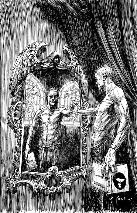 The cover art for Called Into Being. A detailed black and white rendering of a man with a close-shaved hair and stitching down his chest and arms reaching out to touch his reflection in an ornate mirror. Of to the side, in the other hand, he holds a copy of Frankenstein by Mary Shelley. Called Into Being, Allison O'Toole & Megan Purdy (editors), 2018. Cover art by Richard Pace.