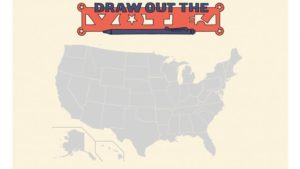 A map of the United States with the Draw Out the Vote logo above
