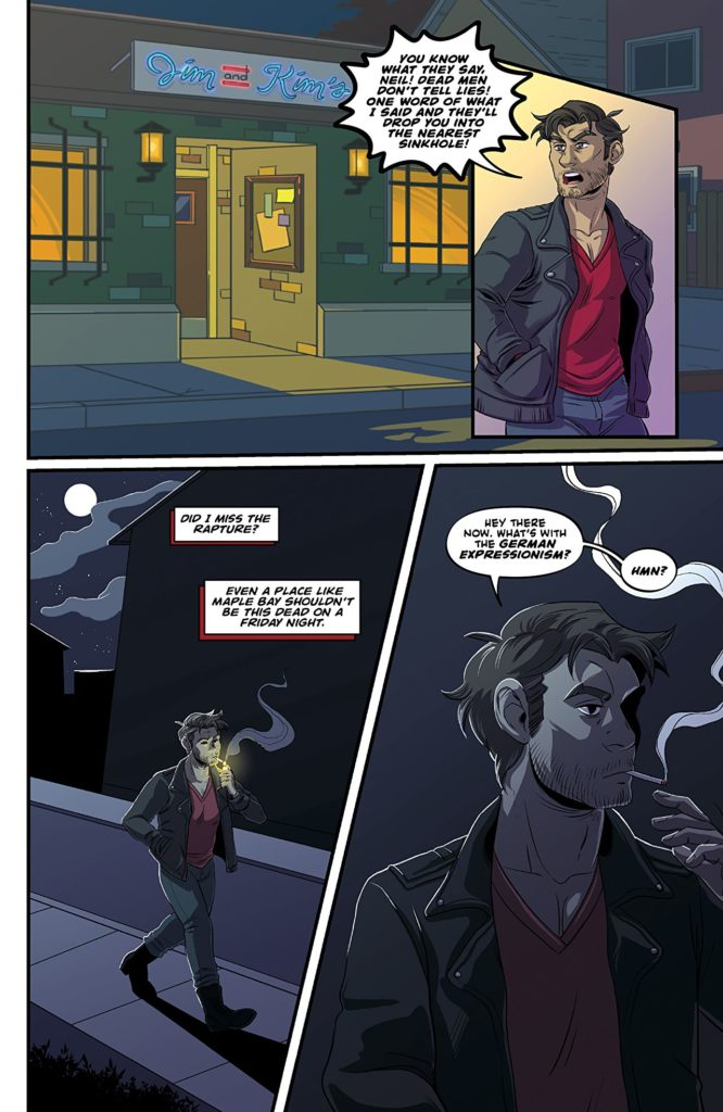 "Panels from Dream Daddy #2 showing Robert leaving an establishment, smoking a cigarette as the colors become darker and greyer, then commenting ""What's with the German Expressionism?"" as he notices the darker mood"