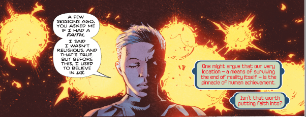 "Panel from Infinite Dark #1 (Top Cow, October 2018) - A white-haired person with closed eyes, several explosions in the background, explains ""I said I wasn't religious, and that's true. But before this, I used to believe in us."""