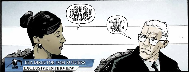 The ESA director is questioned by a WNN reporter in Port of Earth Volume 2 (Top Cow, October 2018)