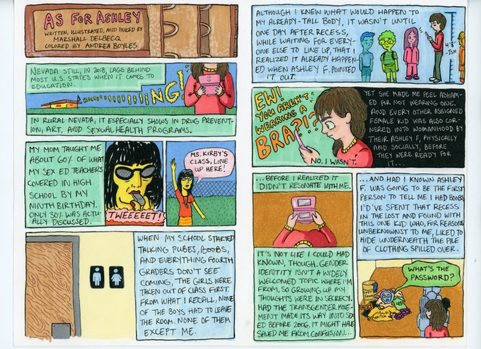 "Two pages from a comic entitled ""As for Ashley."" The comic is extremely text heavy with colorful artwork, depicting the creator's relationship with and experience of gender growing up. ""As for Ashley"" written and drawn by Marshall Delbecq, with colors by Andrea Boyles, included as part of Queens, Jean Munson, Plot Twist Publishing, 2018."