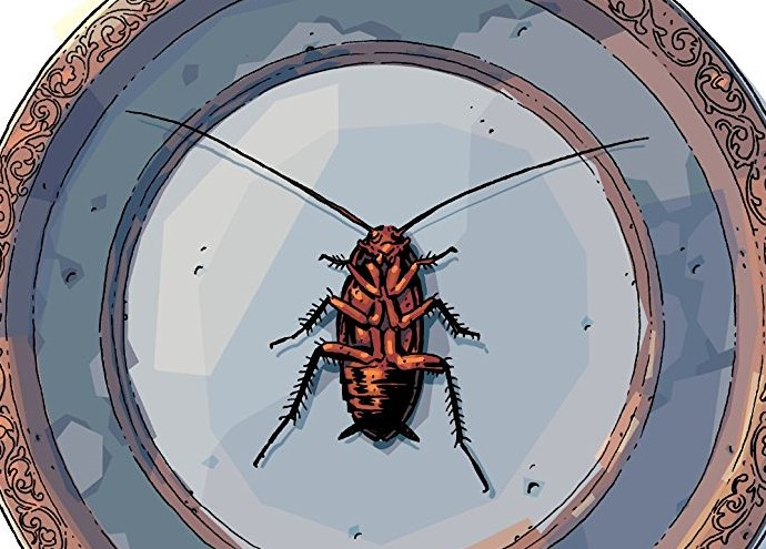 an upside down roach on a plate