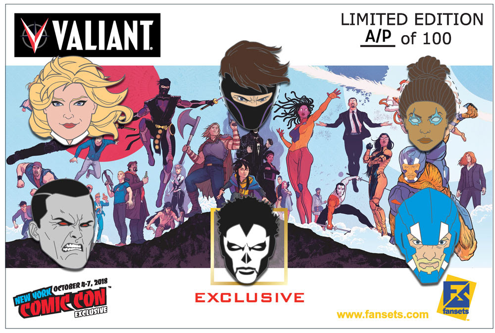 a brand-new assemblage of Fanset's VALIANT ENAMEL COLLECTOR'S HEAD PINS, on an exclusive Raúl Albacker card and featuring a SHADOWMAN NYCC-only pin