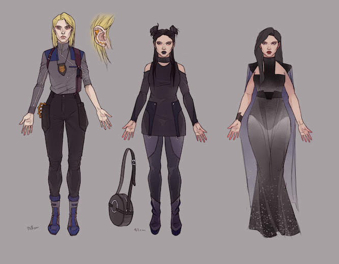 Character design for three women in different outfits facing front. All wear clothes in various shades of dark grey ranging from a utilitarian uniform to elegant evening wear