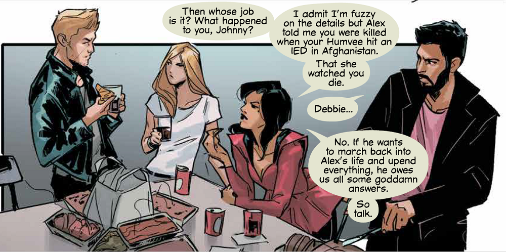 "Panel from Witchblade #8 (Top Cow, October 10, 2018) - Four characters talk around a table, one of them asking Johnny ""What happened to you?"""