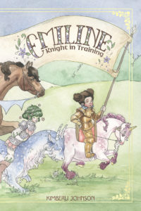 Cover for Emiline: Knight in Training - Emiline, a child wearing gold armor, rides a pink unicorn across the cover, carrying a banner that displays the title