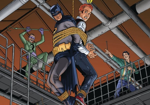 The heroes are in peril in Archie Meets Batman '66 #5: The Batman of Riverdale Cover D. Written by Michael Moreci and Jeff Parker, drawn by Dan Parent. Archie Comics and DC Entertainment. December 5, 2018