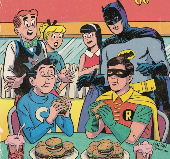 Archie, Betty, Veronica and Batman look on aghast as Jughead and Robin down numerous burgers in Archie Meets Batman '66 #5: The Batman of Riverdale Cover E. Written by Michael Moreci and Jeff Parker, drawn by Dan Parent. Archie Comics and DC Entertainment. December 5, 2018