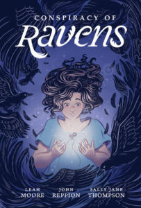 Cover for Conspiracy of Ravens: A figure with dark, wavy hair looks down at the necklace floating between their hands, surrounded by a border of black birds