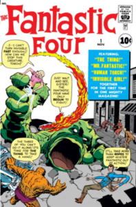 The Fantastic Four in their first appearance, displaying their powers while fighting a monster climbing out of the ground