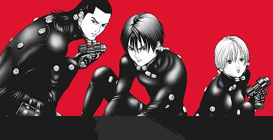 The protagonists strike heroic poses in the Gantz Omnibus Volume 2 cover. Written and drawn by Hiroya Oku. Published by Dark Horse Comics. 19 December, 2018