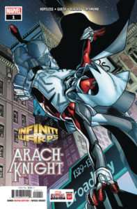 a character in Moon Knight's costume over Spider-Man's costume balances on one hand on a street sign