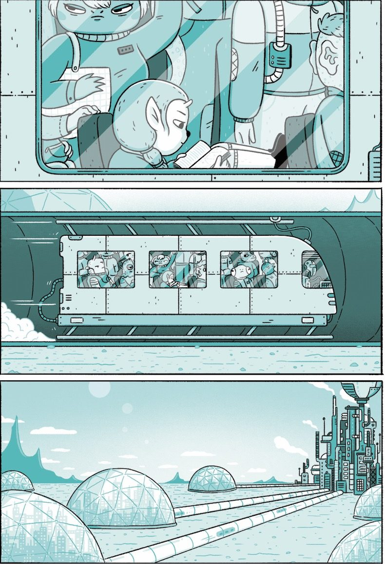 Flint takes the train home in Retrograde Orbit page 5. Written and drawn by Kristyna Baczynski. Published by Avery Hill Publishing. 22 September, 2018