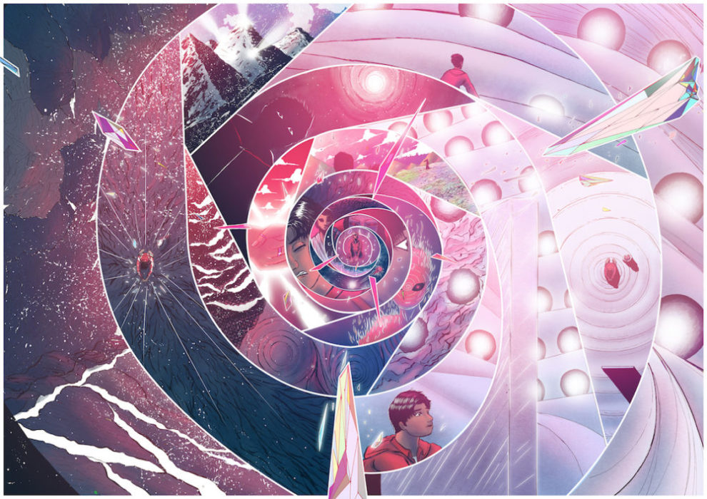 """A scene from """"THE COMMON WEALTH"""" by Kumail Rizvi. The image is broken into several panels in a spiral pattern."""