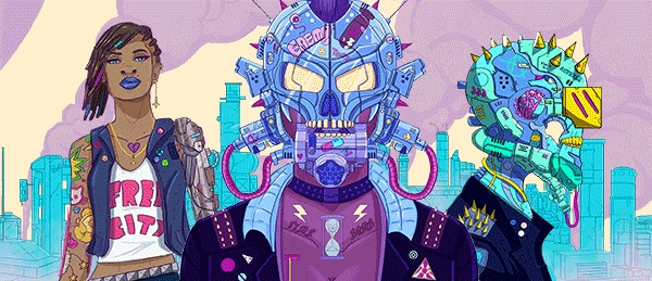 "A banner of three figures on a pastel background made up of smoking, cobbled together metal structures. From left to right: a black woman with beaded hair and a jean vest over a t-shirt that reads ""FREE CITY;"" a figure in a pneumatic skull mask, and a neon teal skeletal figure with gold spikes coming out of its head and wires dripping from its chin. Neon Wasteland, Ron Shields, 2018."