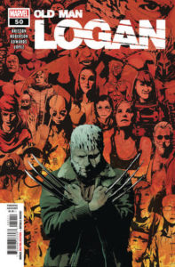 Old Man Logan with his eyes closed and his clawed arms crossed as if in death, in front of a collage of other characters