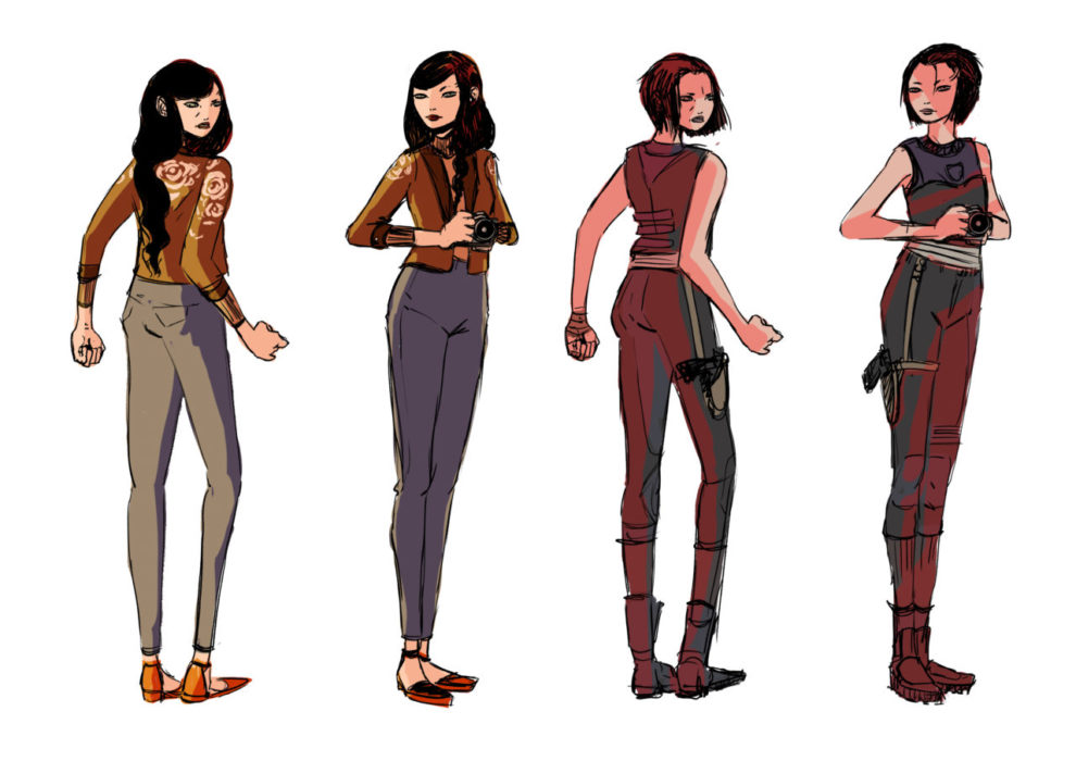 """Character concepts for the protagonist of """"LENS."""" Two outfits are shown from the front and back. In the first, she wears a yellow jacket with flowers on the back and gray pants and holds a camera. In the second, she has a more structured athletic outfit, as well as a gun in a holster."""