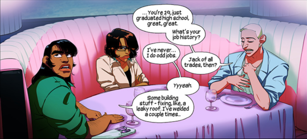 Rafael, Royal, and Kasra sit around a pale purple table, talking about a secret job.