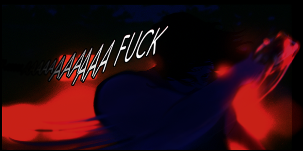 "In the dark, backlit by neon, Rafael swipes at the neon and screams. The text reads ""Aaaa Fuck."" CJ and Anka, Superpose, 2018"
