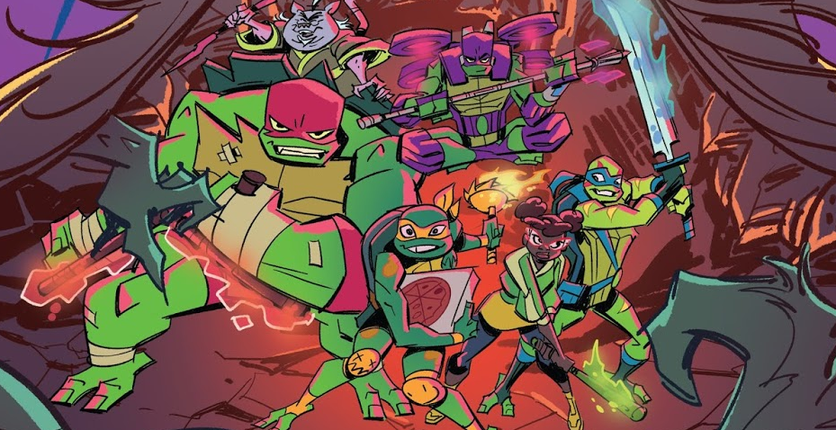 Panel from Rise of the Teenage Mutant Ninja Turtles Heather Breckel (colorist), Matthew K. Manning (author), Chad Thomas (artist) October 17, 2018