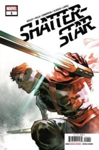 Shatterstar on one knee, with both of his swords at the ready