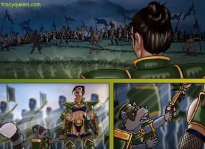 tracy queen battlefield comic panels