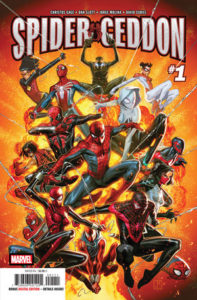 over a dozen different spider characters in different costumes leap out of the page