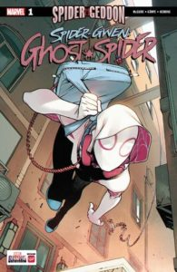 Spider-Gwen, with backpack over her shoulder swings out of the page