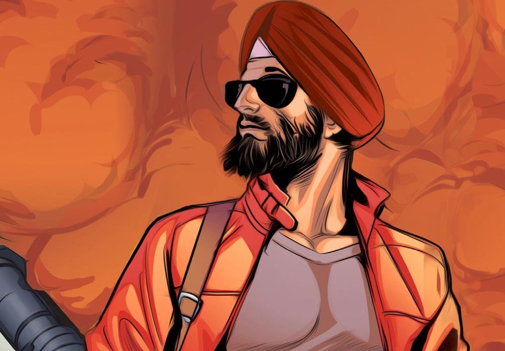 Deep Singh stands proud in the Super SIkh Vol 1 cover. Written by Eileen Kaur Alden and Supreet Singh Manchanda, drawn by Amit Tayal. Published by Rosarium Publishing. February 14, 2019.