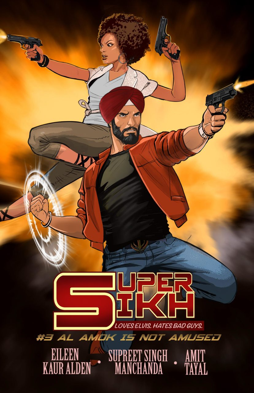 Janelle and Deep fight the bad guys in the Super SIkh Vol 1 Issue #3 cover. Written by Eileen Kaur Alden and Supreet Singh Manchanda, drawn by Amit Tayal. Published by Rosarium Publishing. February 14, 2019.