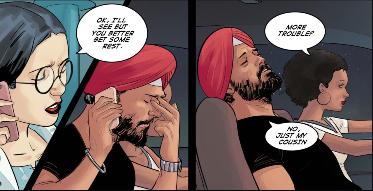 Preeti and Deep discuss his mission in the Super SIkh Vol 1 Page 59. Written by Eileen Kaur Alden and Supreet Singh Manchanda, drawn by Amit Tayal. Published by Rosarium Publishing. February 14, 2019.