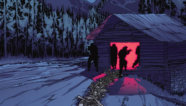 Soldiers enter a home in The Whispering Dark #1 Cover A. Written by Christofer Emgård, drawn by Tomás Aira. Published by Dark Horse Comics. 24 October, 2018