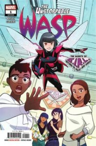 A group of diverse young women look out of the cover, with Nadia Van Dyne in her Wasp suit flying over them