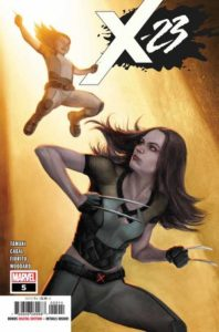 Laura Kinney ducks down as her sister Gabby leaps to attack her