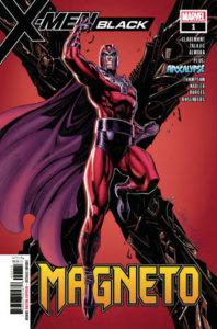 Magneto in his iconic red and purple costume floating in front of a metal X