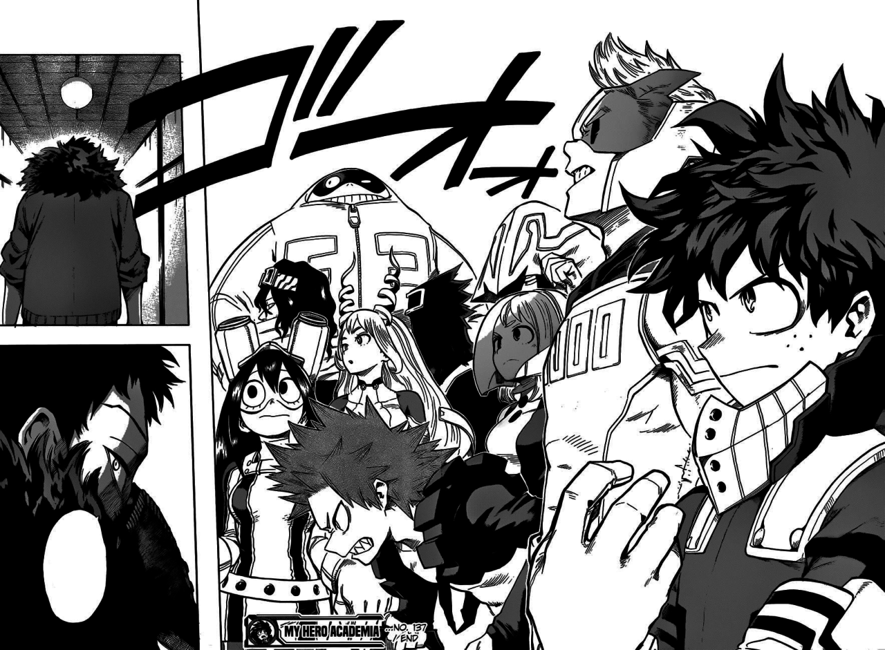 A panel showing a lineup of various major characters from the manga, My Hero Academia.