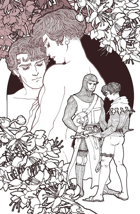 An illustration of two moments from The Scottish Boy: in the foreground, Harry and Iain stand facing each other. Harry is in full armor, and the men stand close to each other as Iain hands him a sword. In the background, the men are closer to each other, embracing, and unclothed. Flowers frame the image. The Scottish Boy, Alex de Campi & Trungles, Unbound, 2018. Illustration by Trungles.