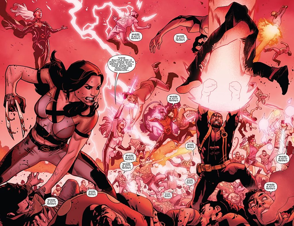 Panel from Uncanny X-Men: a red-tinted battle scene with various team members inflicting damage