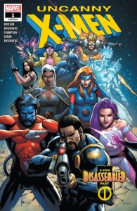 Cover for Uncanny X-Men - A group of X-Men strike dramatic poses as a team
