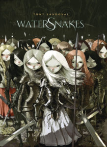 Cover for Watersnakes - A group of pale, long-haired girls dressed in armor and carrying pikes and swords stare at the viewer