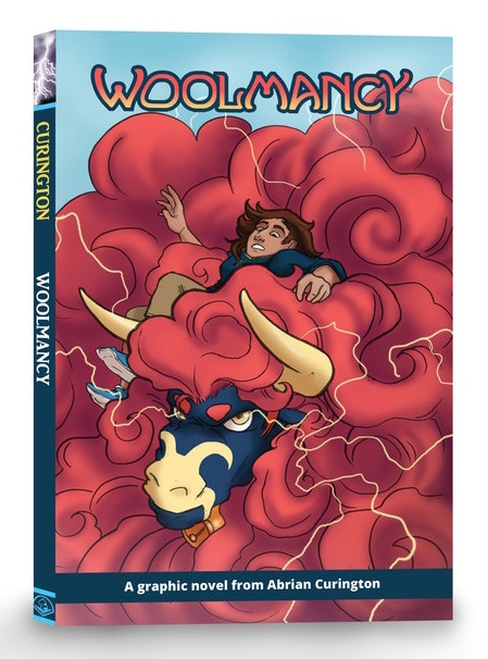 A cover mockup of Woolmancy. Below the title lettering, most of the cover is taken up by a giant ram's curls of red wool. A person with tan skin and black hair sinks into the wool, looking vaguely concerned. Woolmancy, Abrian Curington, 2018.
