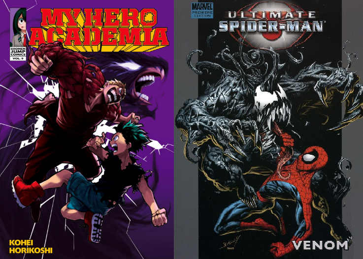 A comparison of <i>My Hero Academia</i> Vol. 9 to an <i>Ultimate Spider-Man</i> cover.